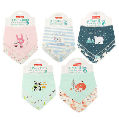 3 pcs/set Baby Boy Girls Printed Soft Absorbent Bandana Drool Bibs with Snaps