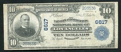 1902 $10 Farmers & Mechanics Nb Of Los Angeles, Ca National Currency Ch. #6617