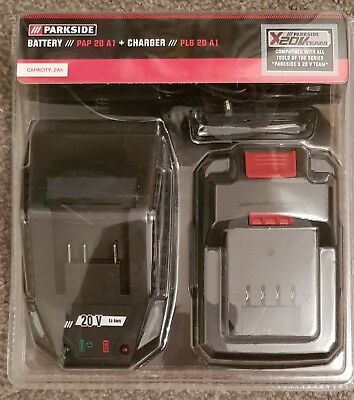 Power Tool Parkside 20V Team Battery +Charger Cordless    Unit Made In Germany