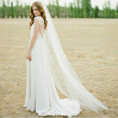 Cathedral Solid Bridal With Comb Hot White Veil Tulle Wedding Long Ivory