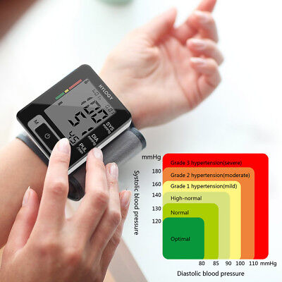 Digital Wrist Blood Pressure Monitor Heart Beat Rate Pulse Meter Measure Machine