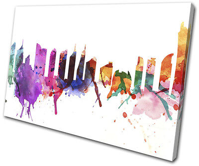 Dubai Watercolour Style Abstract City SINGLE CANVAS WALL ART Picture Print
