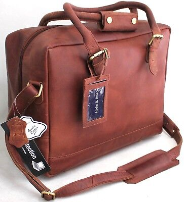 Full Grain Hunter Leather Cabin Size Overnight Bag with  Adjustable Strap 1822
