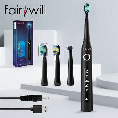 Fairywill Rotary Electric Sonic Toothbrush Rechargeable 2 Round Heads for Adults