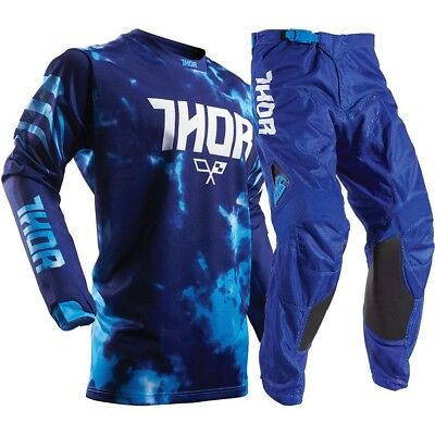 Thor 2017 Mx NEW Kids Pulse AIR TyDy Blues Jersey Pants Youth Motocross Gear Set