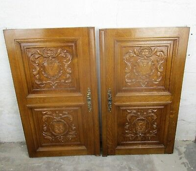 pair Large  French Carved Wood Oak Shield Door Panels Reclaimed  Architectural