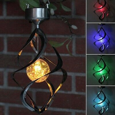 Solar Powered Wind Chime Light LED Garden Hanging Spinner Lamp Color Changing GW