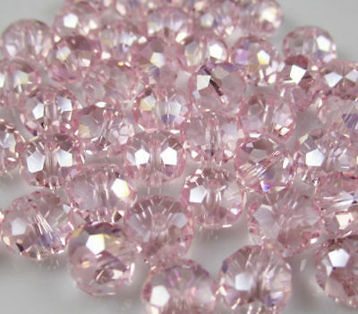 New Faceted 70pcs pink AB Rondelle glass crystal 6*8mm Beads DIY