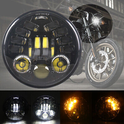 """1 Pc 5.75"""" 5-3/4"""" Led Motorcycle Headlight with Turn Signal Function for Harley"""