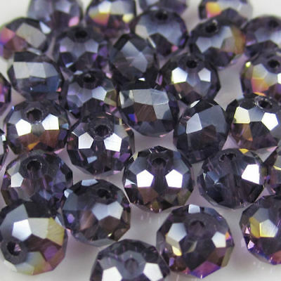 New Faceted 70pcs Purple AB Rondelle glass crystal 6*8mm Beads DIY