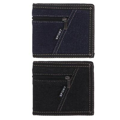 New Men's Slim Canvas Bifold Credit ID Card Holder Wallet Billfold Purse Clutch