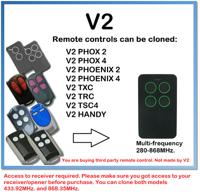 V2 Rolling code Multi-Frequency Remote Control Duplicator 4-Channel 280-868MHz.