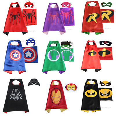 Superhero Kids Cape & Mask Costume Party Set Captain America Hulk Spiderman