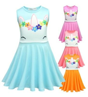 NEW Unicorn Girls Dress Sleeveless Fancy Birthday Dresses Size 2-8 Years Cotton