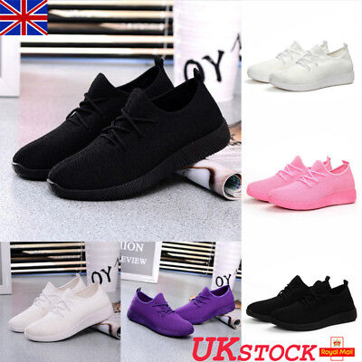 Womens Ladies Sneaker Breathable Trainers Gym Sports Fitness Running Shoes Size