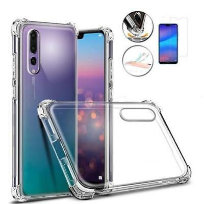 Huawei P8 P9 P10 P20 Lite Pro Shockproof 360 Clear Case Cover + Tempered Glass