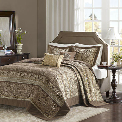 Traditional Luxury Paisley Leaf Geometric Stripe Brown Gold Bedspread Set Quilt