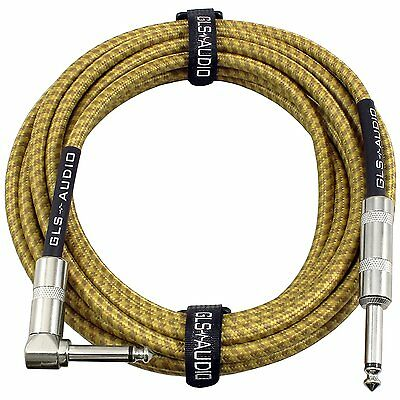 GLS Audio 20 Foot Guitar Instrument Cable Right Angle 1/4 Inch TS to Straight