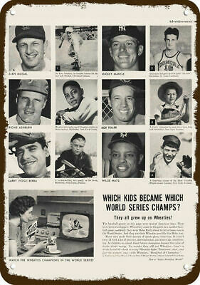 1956 WHEATIES Vintage Look METAL SIGN  WILLIE MAYS - YOGI BERRA - MICKEY MANTLE
