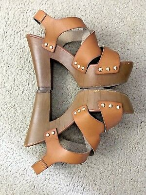 cedf1bef76 Mossimo Supply Cali Brown Ankle Strap Wedge Sandals Shoes Women's size 8.5