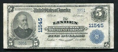 1902 $5 The Linden Nb & Trust Co. New Jersey National Currency Ch. #11545