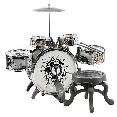 Kids Black and White Drum Kit Play Set Drums Musical Toy Instrument Pedal Stool