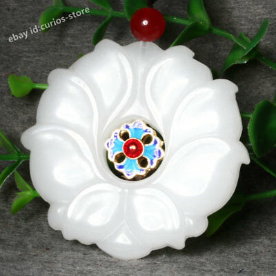 Pretty Chinese Hetian Lighhter Imperial Jade Hand Carved Lotus Cloisonne Pendant