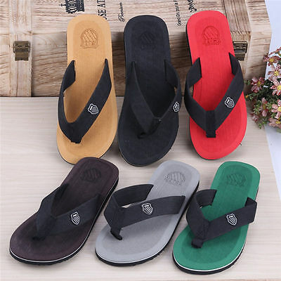 Summer Soft Casual Men Flat Wedge Sandals Thong Flip Flops Slippers Beach