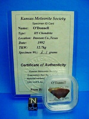1992, O'Donnell H5 Meteorite, Dawson Co., Texas USA 2.1 grams rarely available