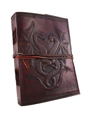 Large Vintage Dual Dragons Leather Blank Book Diary Journal 240 Pages
