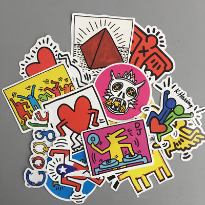 14pcs Mixed Vinyl Keith Haring Sticker For JDM Skateboard Luggage Laptop Decals