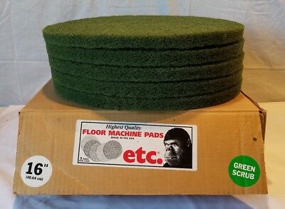 "ETC Floor Machine (Vacuum Cleaner) 16"" Green  Scrub Pads 5/Case New Old Stock"