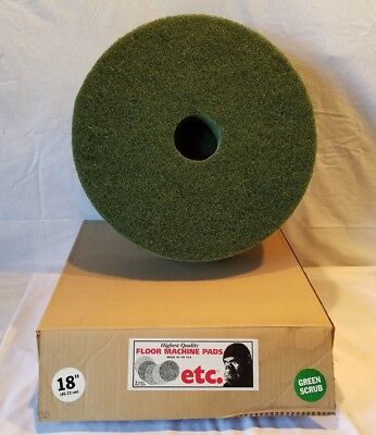"ETC Floor Machine (Vacuum Cleaner) 18"" Green Scrub Pads 5/Case New Old Stock"