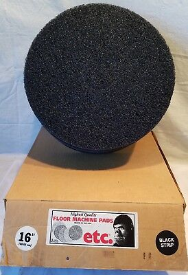 "ETC Floor Machine (Vacuum Cleaner) 16"" Black Strip Pads 5/Case New Old Stock"
