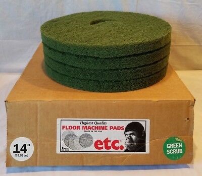 "ETC Floor Machine (Vacuum Cleaner) 14"" Green Scrub Pads Quantity 4 New Old Stock"