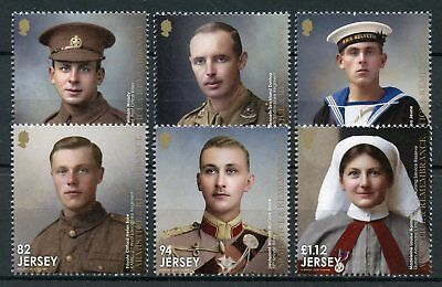 Jersey 2018 MNH WW1 WWI Great War Armistice Remembrance 6v Set Military Stamps
