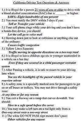DMV CALIFORNIA CLASS C Study Guide Driver's License Written Test With  Answers