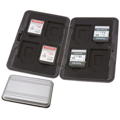 8 x SD Micro Memory Card Storage Case Holder Hard Carrying Box Black Aluminum PB