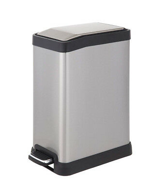 HomeZone Rectangle Stainless Steel 8 Liter 4 Gallon Pedal Trash Can Garbage Bin