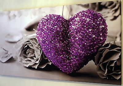 PURPLE LOVE HEART  BLACK AND WHITE CANVAS PRINT WALL ART PICTURE  18 x 32 INCH