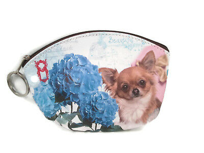 """Long Haired Chihuahua With Flowers Dog 5.5"""" Zippered Coin Purse Key Chain Pouch"""