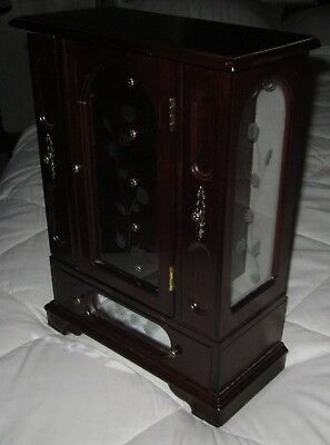 Vintage Large Wood Jewelry Chest Armoire 6 Drawers 3 glass Doors Velvet Interior