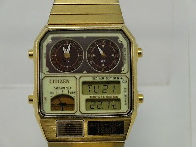 CITIZEN Dual Time (Digital & Analogue & Temperature)  Collectable Classic Japan
