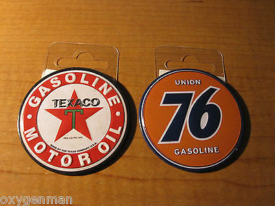 (2) TEXACO Gas Oil & UNION 76 Dealer Service Garage Round Toolbox Metal Magnets