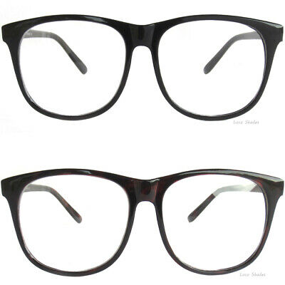 61f29509e1 RETRO DESIGN OVERSIZE CLEAR LENS GLASSES BLACK FRAME Nerd Smart Hipster  Style