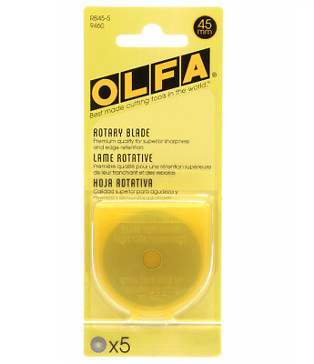 Olfa 45mm Rotary Blades Replacement Refills - 5 blades - RB45-5 - 9460 - New