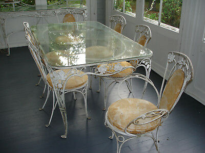 salterini patio furniture 6 place setting with glass table
