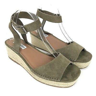 c42a994f470 STEVE MADDEN SHOES Size 9.5 Green Suede Elody Wedge Espadrilles Ankle Strap