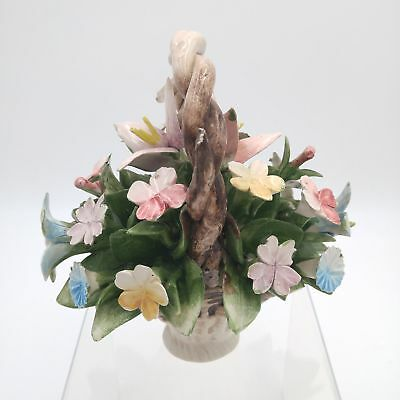 """Vintage Capodimonte Porcelain Basket of Colorful Flowers 6""""x 6"""" - Italy"""