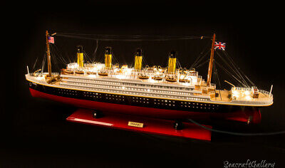 New Premium Titanic Handcrafted Wooden Model Boat Cruise Ship 80Cm (With Lights)